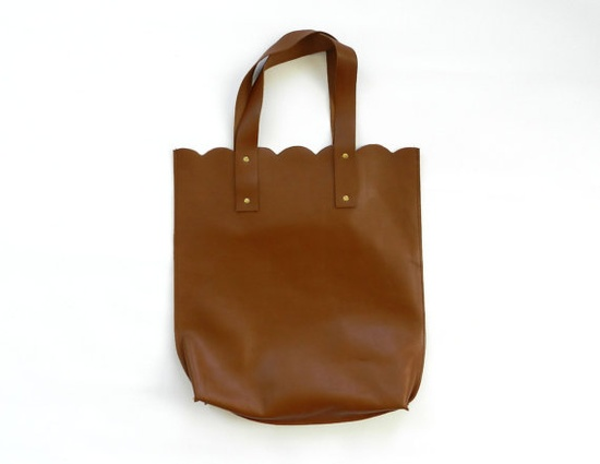 Love the scalloped detail on this leather tote.
