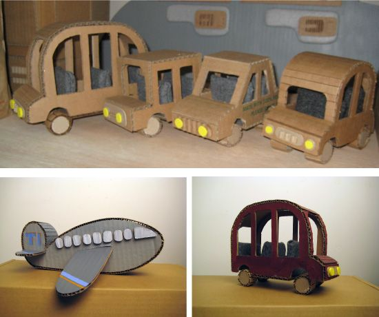 cardboard cars + plane toys
