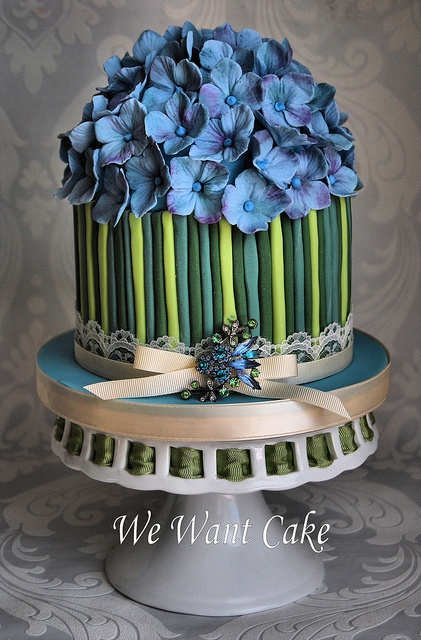 hydrangea blue cake