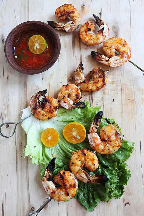 Lemongrass and Sriracha Grilled Shrimp:The highlight of the recipe is lemongrass—which imparts the distinct aroma and unique flavor to the grilled shrimp skewers. The fish sauce and garlic marinade further enhance the briny sweet taste of the fresh shrimp, and the spicy Sriracha lends that extra kick that everyone has grown to love. #shrimp #skewer #grilled #lemongrass #vietnamese