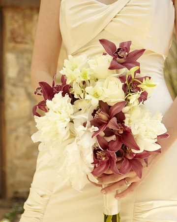 A bridal bouquet kept simple with just two colors of blooms