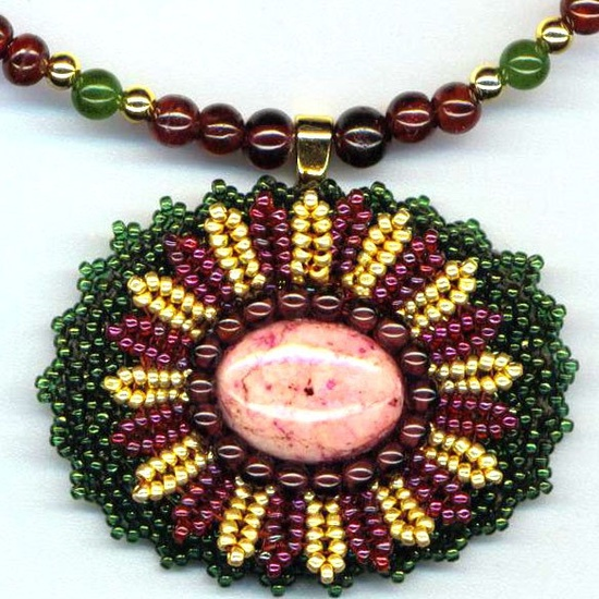 Statement Necklace . Beaded Cabochon . Beadwoven Flower . Rhodonite and Garnets - Fairytale by enchantedbeads on Etsy. , via Etsy.