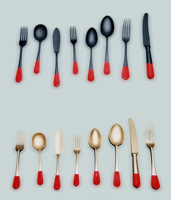 Dip the bottom of your silverware in colored enamel paint.