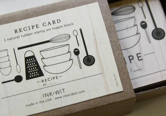 recipe card rubber stamp