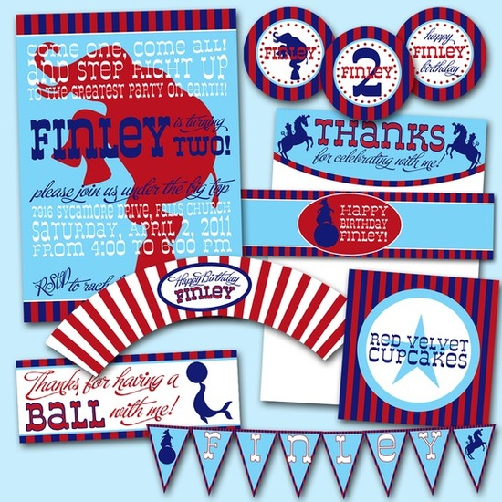 Circus Carnival Party Pack JPEG Invitation Cupcake by RVparties, $45.00