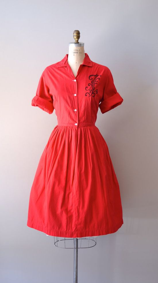 vintage 1950s dress / 50s shirtwaist dress / Monopolova shirt dress