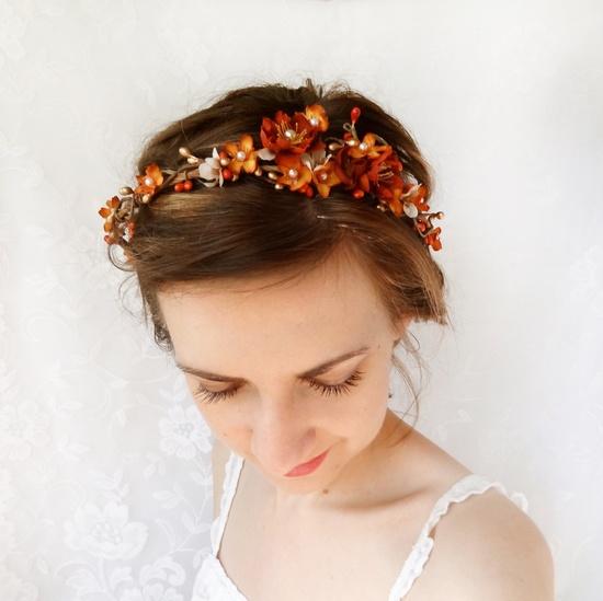 fall bridal hair circlet