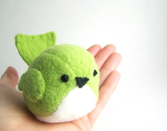 Handmade Pudgy Bird Stuffed Animal in Green Sewn together by hand out of a grass green polyester fleece.