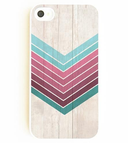 Teal Chevron & Faux Wood iPhone Case.
