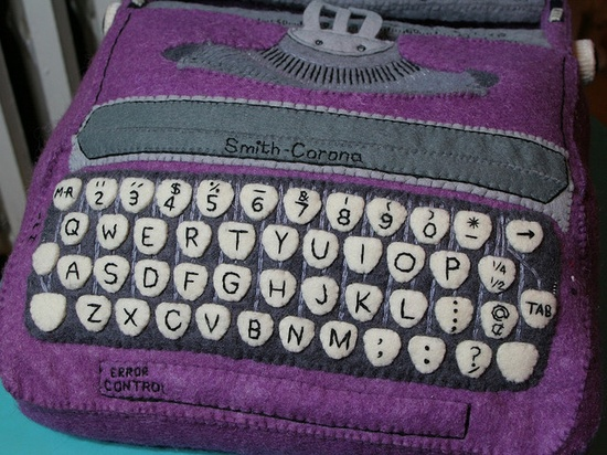 Typewriter: hand dyed wool felt and embroidery.