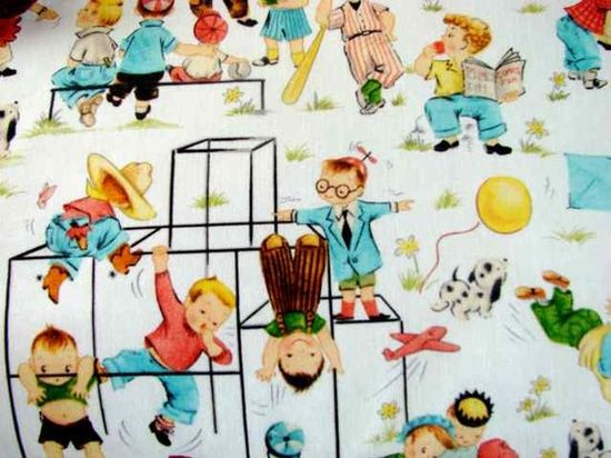 Dig the #vintage fabric, but not the racism of yesteryear. Where are the children of color? My baby is Mexican!