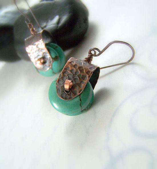 Earrings, love the little copper caps
