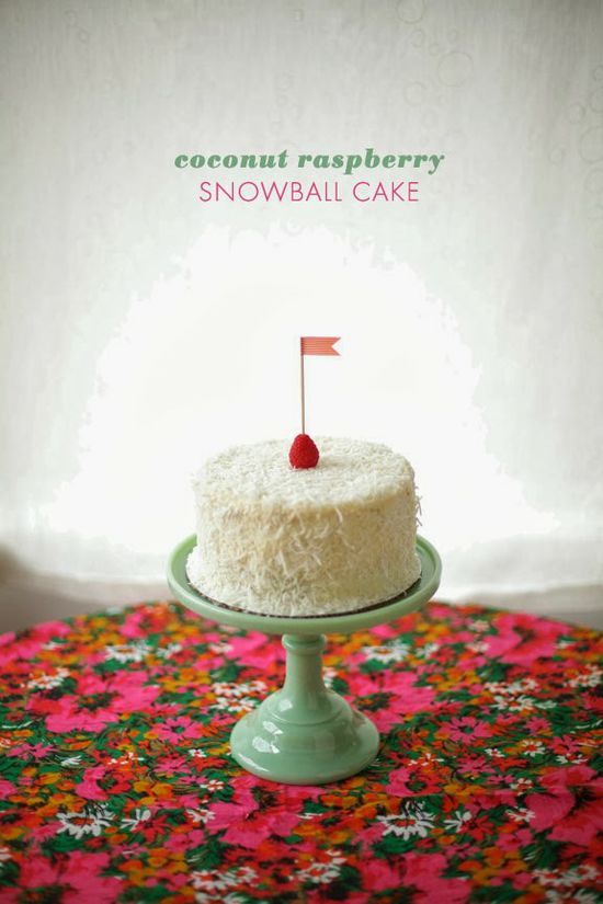 coconut raspberry snowball cake #recipe #cococakeland