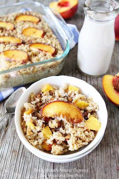 Baked Peach Almond Oatmeal Recipe on twopeasandtheirpo...