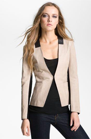 Bod & Christensen Collarless Leather Blazer