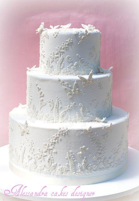 Butterflies in White Wedding Cake