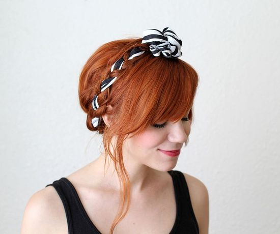 Cute tutorial for maiden braids with fabric!