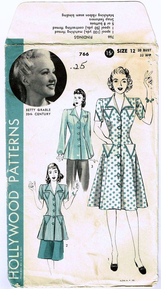 Vintage 1940s Betty Grable dress and smock sewing pattern - Hollywood 766. #vintage #1940s #sewing_patterns