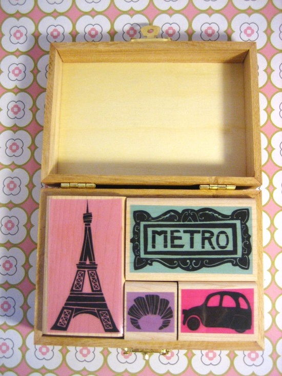Paris Rubber Stamp Set of 4 by marisamidori on Etsy, $25.00