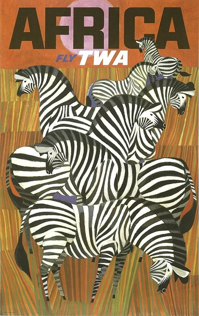 Vintage travel poster - Fly TWA to Africa