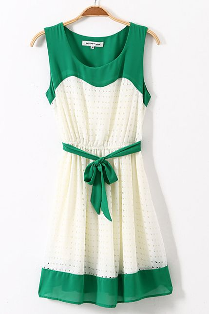 Green Contrast Dress with Belt