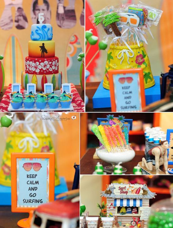 Tropical Surf Themed Birthday Party with SO many ideas! Via Karas Party Ideas KarasPartyIdeas.com #beach #surf #themed #birthday #party #ideas #idea #supplies #decor