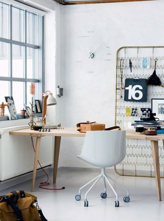 Vintage/Modern Danish Home Office - the old spiral bottom from an antique bed makes the whole picture