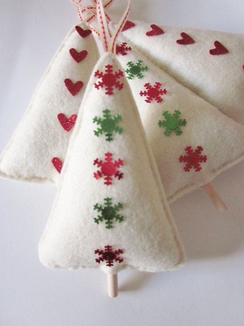 Felt Christmas trees ornaments