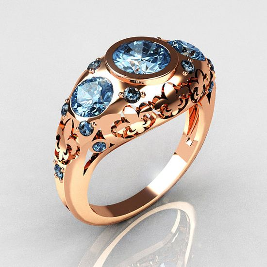 Modern Vintage 14K Rose Gold Three Stone Blue Topaz by artmasters, engagement ring