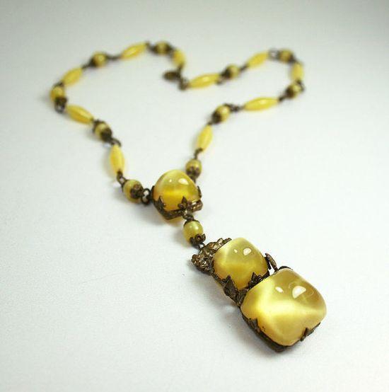 Art Deco Czech Necklace Gilt Yellow Satin Glass by zephyrvintage, $125.00