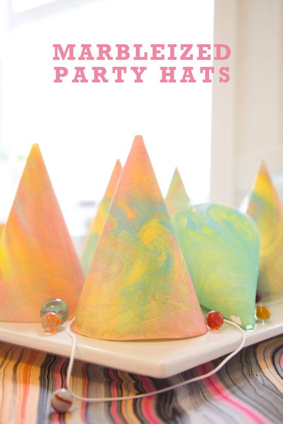 Marbleized Party Hats DIY