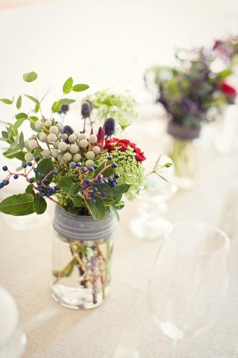 Mason jars and flowers:)