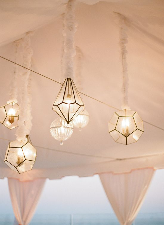 These hanging lanterns are so beautiful!! See more of this wedding on StyleMePretty.com... Photography by elizabethmessina.com/, Event Design and Planning by mindyweiss.com/