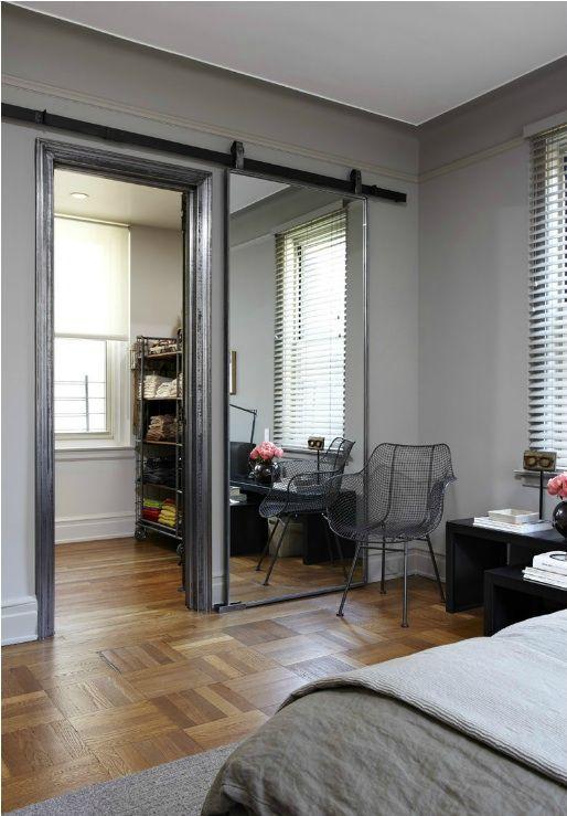 Barn door style full length mirror