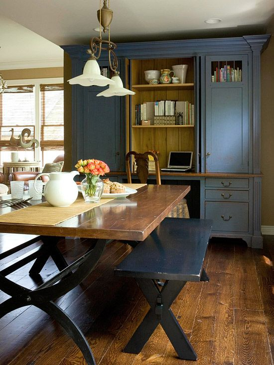 great country style dining room, love the painted hutch