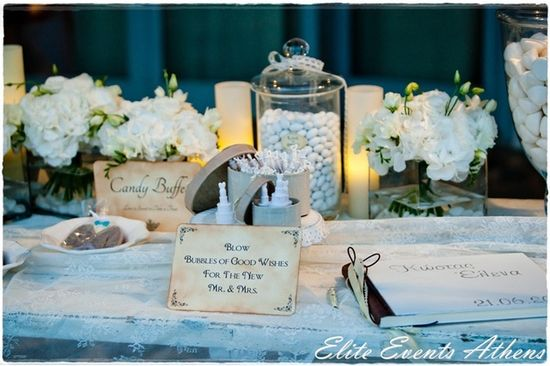Lovely décor at a Shabby Chic Wedding.  See more party ideas at CatchMyParty.com.  #tweddingideas