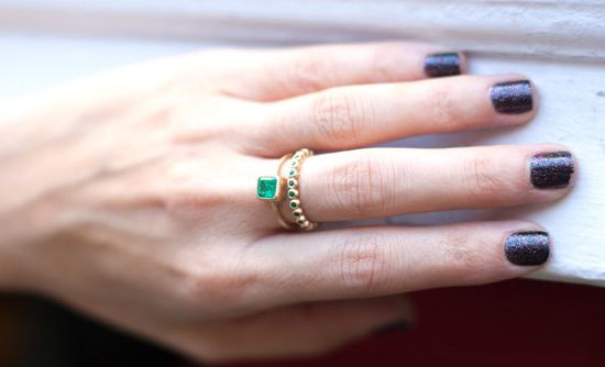 Asscher Cut Emerald Ring Colombian Emerald 14K Gold by Tulajewelry, 500.00