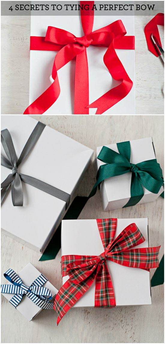 Tying The Perfect Bow Tutorial ~ 4 Secrets To Tying a Perfect Bow... Says: each one achieving a slightly different look for different purposes. Also, the trick to getting your ribbon to lay flat on the bottom of your gift box. Professional gift wrappers use this very same method