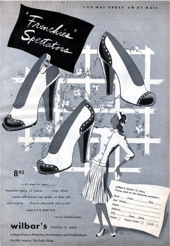 "Lovely ""Frenchies Spectators"" from the 1940s. #vintage #fashion #1940s #shoes #ad"