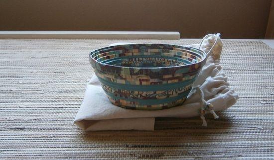 Handmade Paper Basket - Wood Base,