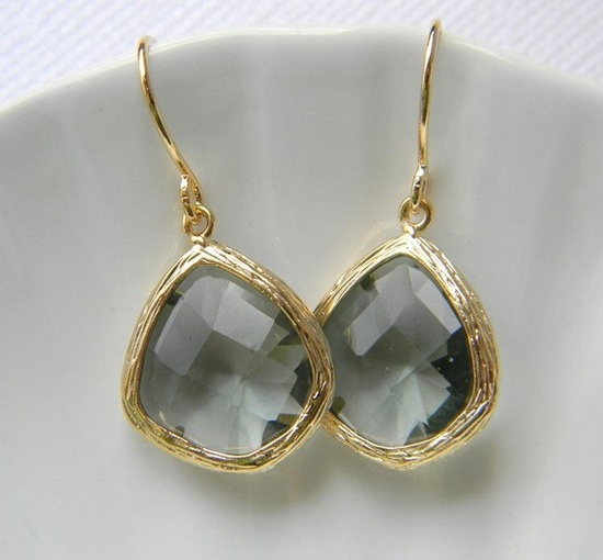 Gold Bridesmaid Earrings - Charcoal Gray Earrings - Bridal Earrings - Czech Glass - Classic Jewelry - Gift. $22.00, via Etsy.