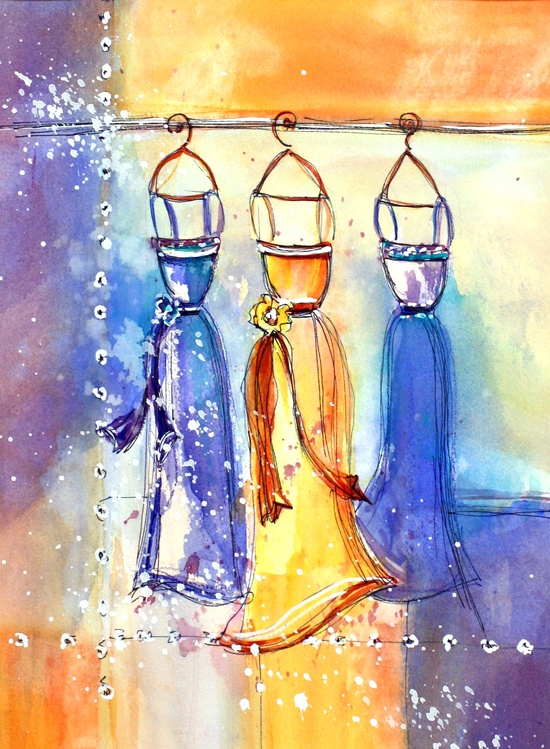 Dresses on the Rack: watercolor original