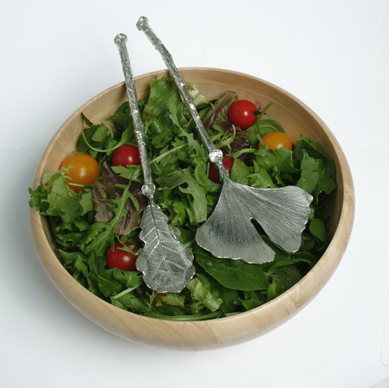When it comes to serving salad, it's all about the leaves. Salad servers by GloverandSmith, $83.50