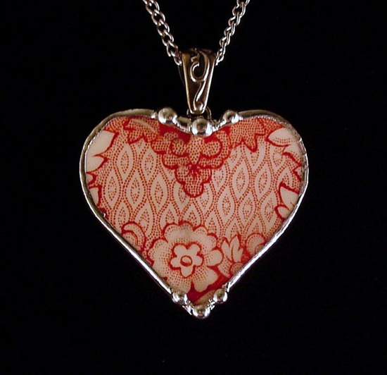 Necklace made from a broken plate by Dishfunctional Designs broken china jewelry Red English Transferware Britain Castles