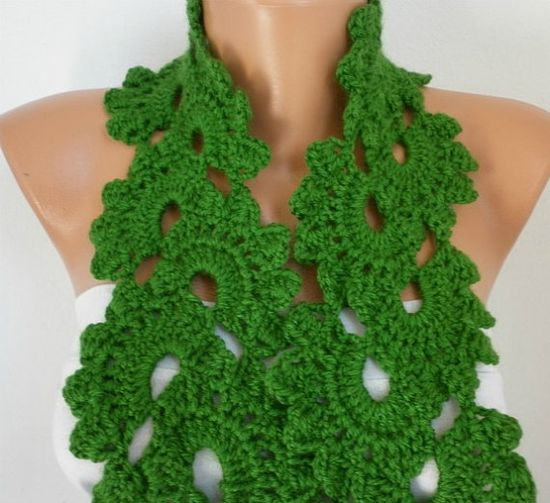 Green Queen Anne's Lace Scarf by anils on Etsy