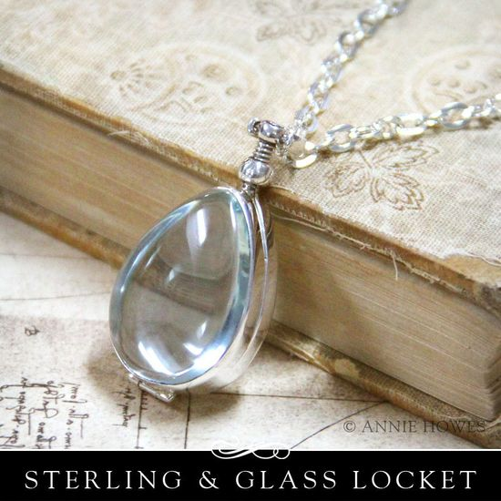 Sterling Silver Antique Glass Locket Pendant. Wedding Bouquet Charm. Tear Drop Shape. 28 x 21mm from Annie Howes $38.00