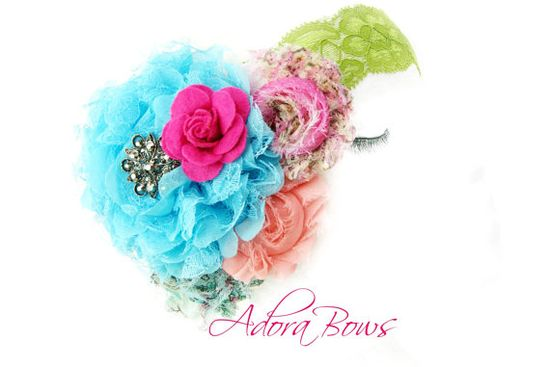 Beautiful Floral handmade headband Mix of by AdoraBowsByLeilaHale, $14.99