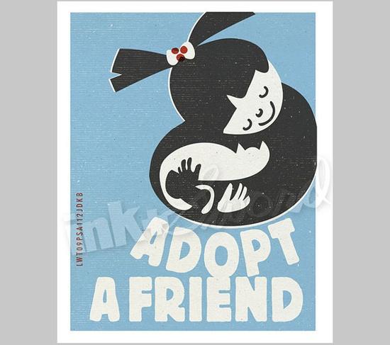 """""""Adopt a Friend"""" Cat Print"""