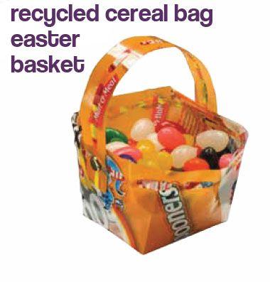 Recycled cereal bag easter basket