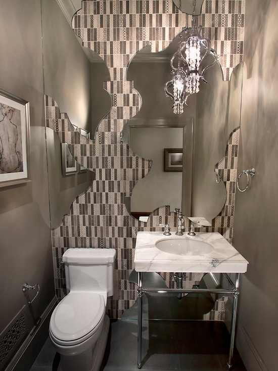 Powder Room Design - awesome for a small bathroom!!